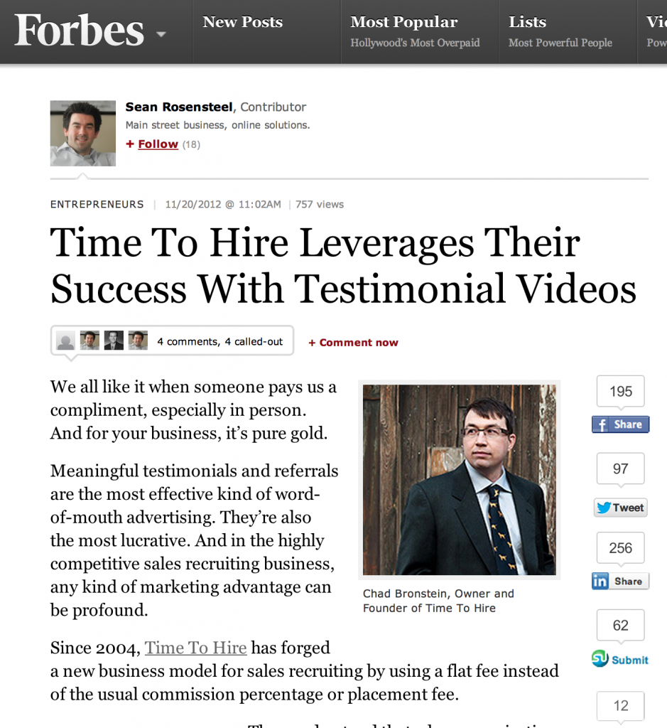 Time To Hire appears in Forbes.com regarding video testimonials