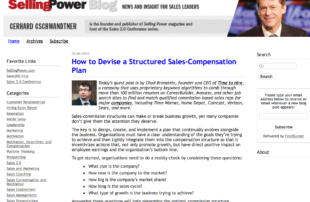 Selling Power Blog - Time to Hire - Structuring Sales Compensation Plan